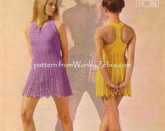 Crochet T back Halter neck Dress or festival top Pattern PDF 654 from WonkyZebra
