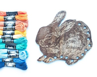 Embroidery Floss Organizer Thread Holder - Hoppy Stitching Bunny