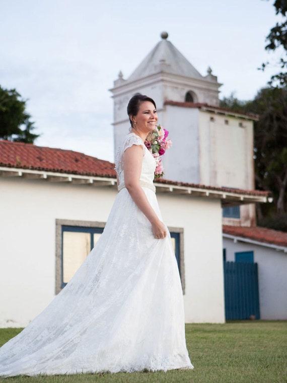 Weinlese-Spitze-Hochzeits-Kleid mit Cap Sleeves Brautkleid