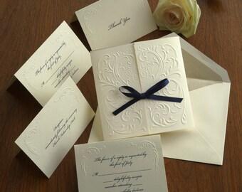 Versailles Blind Embossed Wedding Invitation Set - Embossed Filigree,Ribbon,Tri Fold,Raised Ink,White,Ivory  - AV1172