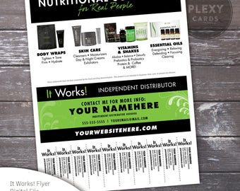 Black & Green ItWorks Flyer With Tear Off Tabs [Digital File]