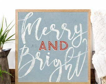 Merry and Bright - Country Christmas Decorations - Rustic Christmas - Winter Wall Art - Holiday Print - Christmas Print - Christmas Cabin