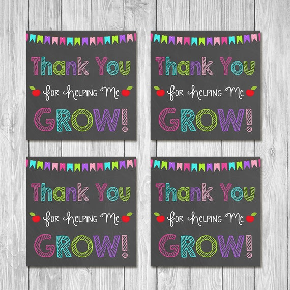 Teacher Appreciation Week Tags Thank You For Helping Me Grow - Teacher Gift Tag - Chalkboard Bright - Teacher Thank You Tags - Gift Ideas