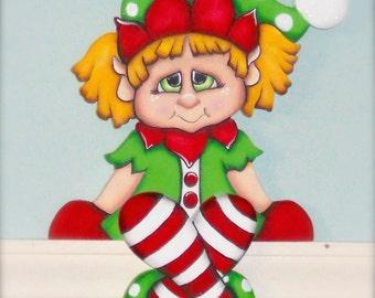 "Christmas shelf elf ""Sally"" hand painted wood craft shelf sitter"