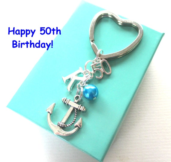 50th Birthday Gift Anchor Keychain Personalised 50th