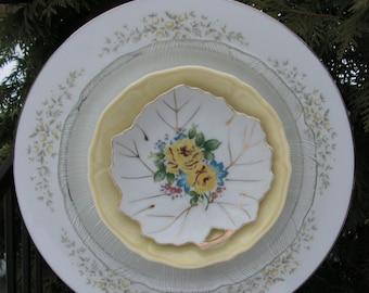 Soft Yellow Plate Flower, Yard Art, Garden Decor, Close out