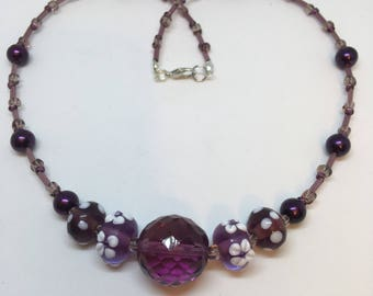 Necklace Handmade Purple Glass Lampwork Bead Flower and white spots by JulieDeeleyJewellery on Etsy Ladies Handmade Necklace Ladies Gift