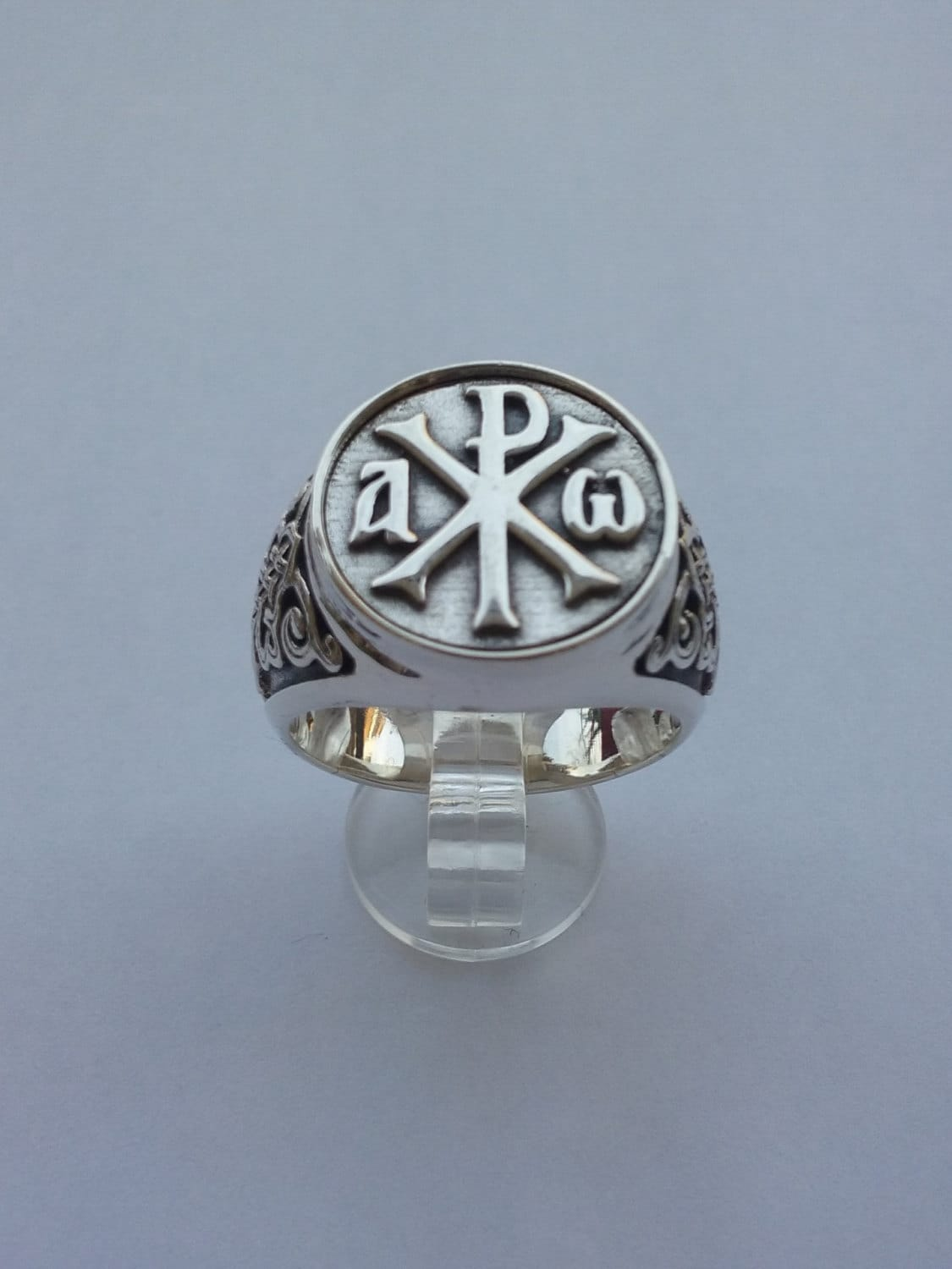 Alpha and omega chi rho sterling silver ring men christian zoom buycottarizona