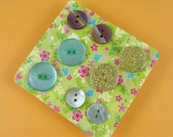 Button Earrings - set of four pairs of studs - plastic buttons, shell buttons - gold glitter, mint green, iridescent rainbow stripe cute fun