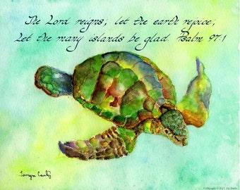 PSALM 97:1 Christian Home Decor  Hand Written Calligraphy Art Print 8x10 Vintage Verses Watercolor Swimming Sea Turtle Honu Ocean