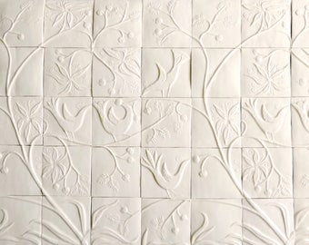 porcelain wall tile panel - birds eating berries