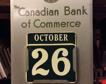 vintage office ... CANADIAN BANK Of COMMERCE perpetual wall Calendar ... office fun