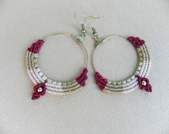 Macrame Boho Hoop Earrings. Tribal Gypsy Hoop Earrings. Hippie chic. Bohemian earrings. Bellydance Ethnic jewelry.