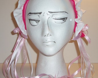 Lolita Maid Pink and White Lace Headband with Ribbons and Rosettes (B)