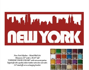 "New York City skyline - metal wall art - 24"" wide - word wall art - choose your patina color - New York wall art"