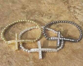 Beaded Cross Bracelet. Cross Bracelet. Sideways Cross. Side Cross Bracelet. Bead Cross Bracelet. Cross Jewelry. Faith Bracelet.