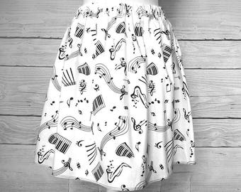 Skirt with black notes, skirt white music cotton fabric