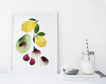 Fruit and vegetable wall art, kitchen art print , food art, poster, watercolor art print, home wall decor, food poster, modern kitchen art