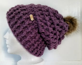 Piper Slouch Beanie.Ready to Ship// PURPLE LILAC Slouch//Dusty Purple Lilac Beanie//Pom Pom//Crochet Hat//Puffy Hat//Ribbed Band