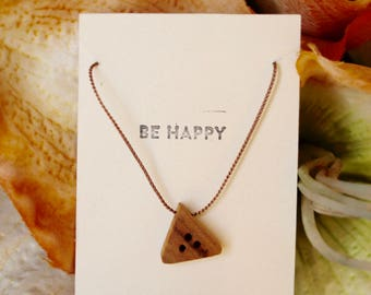 Canary Wood Triangle Necklace