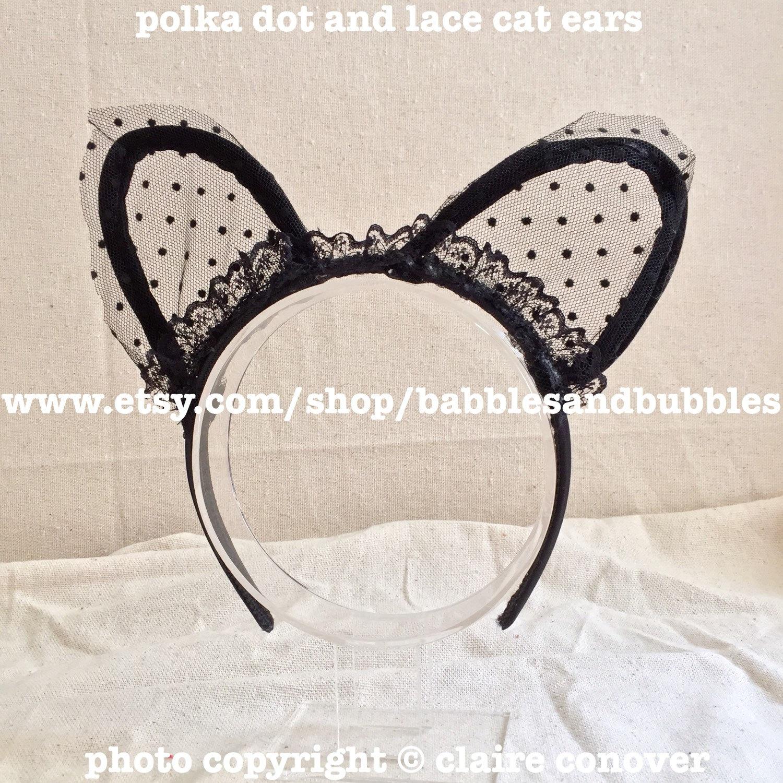 Polka Dot and Lace Cat Ears Headband Cat Ears Cat Lover