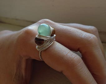 Aventurine and Tiger's Eye Triple Goddess Statement Ring Wire Wrapped with Sterling Silver Wire - Moon Goddess Jewelry - Moon Goddess Ring