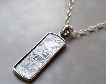 Muonionalusta Meteorite Rectangular Necklace