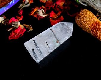 ONE Tourmalinated Quartz Crystal Point - Chakra Healing Crystal, Gift For Her, Rutilated Quartz, Black Tourmaline, Reiki, Yoga Crystal, P27