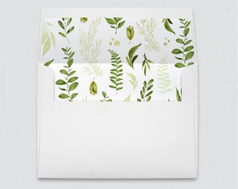 Green and White Wedding Envelope with Liners - A7 Envelopes with Greenery Envelope Liners, Rustic Botanical Envelope Liners 0007