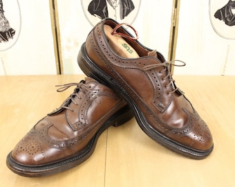 Kensington ENGLISH Brogue Shoes 6.5-7 Long Wing Blucher Wing Tips Brown Leather Gunboats V-Cleat Made in England Derby