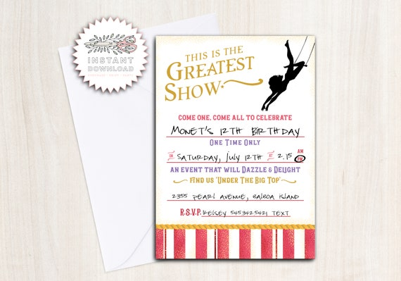 The Greatest Show Birthday Party Invite - Instant Download Invitation
