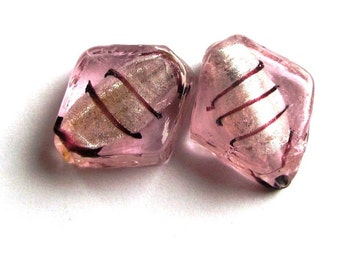 Pair of Recycled Pink Swirled and Foil Lined Lampwork Diamond Shaped Beads