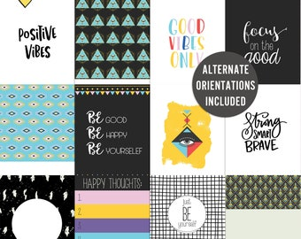 Good Vibes - Journal Cards - Instant Download - Printable journaling cards for Project Life and digital scrapbooking
