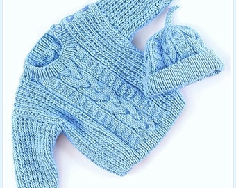 Cabled Heirloom Sweater/Cap Set Knitting Pattern Baby Knitting  PDF Pattern