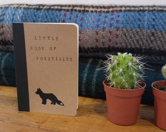 Little Book of Positivity. Hand-stamped Unruled Brown Notebook, with Fox Design.