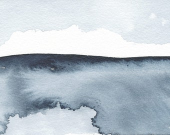 """Winter Coming, Original Abstract Waterscape Painting, Watercolour, Indigo Blue, 4"""" X  6"""""""