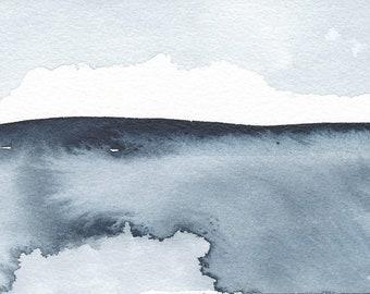 """L'hiver venue, Waterscape abstrait peinture, aquarelle, bleu Indigo, 4 """"X 6"""""""