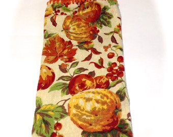 Leaves And Pumpkins Hand Towel With Carrot Orange Crocheted Top