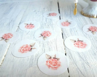 Wafer / Rice Paper Vintage Tea Party Rose Cupcake or Cookie Toppers!