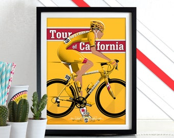 Tour of California Poster Wall Art Hanging Print Home Décor bicycle bike race Grand Depart cycling yellow jersey