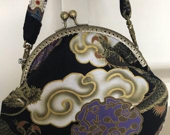 Handmade Japanese fabric clasp bag