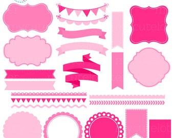 Pink Borders, Banners & Frames Clipart Set - clip art set of frames, tags, borders - personal use, small commercial use, instant download