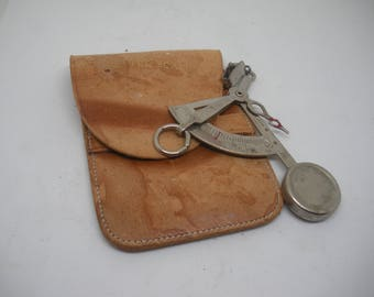 Letter Scale with Leather Pouch Handheld Vintage