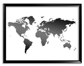 World Map, Printable World Map, Map print, Black and White Map wall decor, Map Poster, Large Silhouette World Map Poster, Instant Download