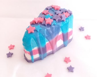 Birthday Cake Slice Bath Bomb with Shea Butter Soap Toppings