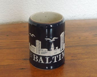 Vintage Ceramic Baltimore MD City Skyline Coffee Mug 14 oz. Navy Blue