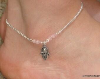 Zilveren Hamsa Rozenkwarts enkel armband met Hamsa hand sieraden, zilveren hamsa hand Rozenkwarts enkelbandje, Hamsa sieraden, Ankle bracelet uk