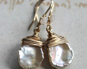 White Keishi Pearl Earrings, Ivory Pearl Drops, Cornflake Pearl Drops, Moonstone Dangle Earrings