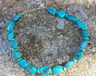 Turquoise Nuggets Sterling Necklace Chocker Peyote Bird Designs