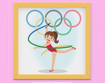 Clipart - Summer Olympics Clipart / Rio 2016 / Olympic Games / Gymnastics (Single Clipart Image) - Digital Clip Art (Instant Download)